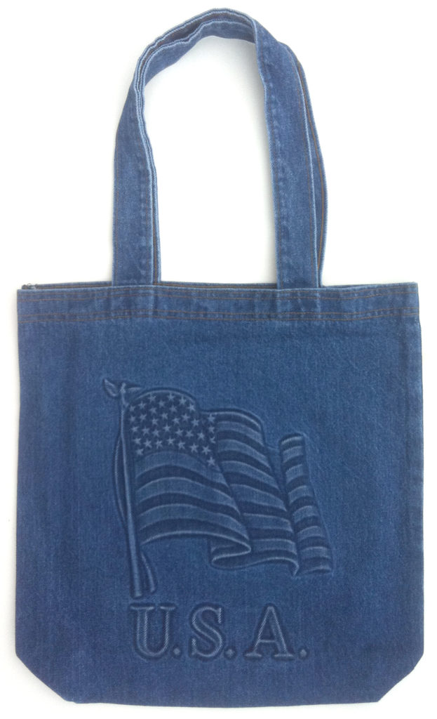 Embossed Denim Tote Bag